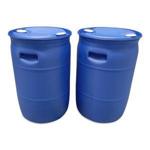 2 Stück 60 L Spundfass, L-Ring Fass, 60 Liter Wasserfass, Tonne, Fass, blau (60 Fass blau NEU)