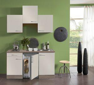 Singleküche mit Elektrogeräten Arta 150 cm breit in sahara beige mit Edelstahlspüle