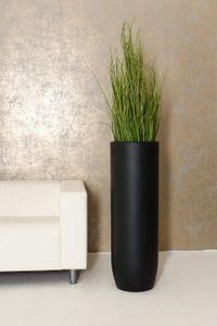 Pflanzgefäß Bodenvase SOLERIO Fiberglas Schwarz Matt - 33x100 cm