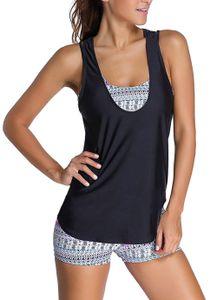 Damen Tribal Print mit Buntem Muster Flower Blumen Yoga Fitness Tankini mit 3-Teilig Bikini Set(XL)