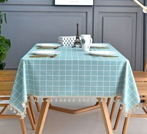 Tischdecke Rechteckig Mit Quaste Rand Antifouling Stoff Tischw?sche Dekorative Staubdichte Tischtuch Abwaschbar fš¹r Esszimmer Urlaub Tischdekoration Blau 120x120cm