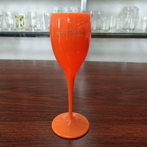 1 Tasse Champagnergläser, Kunststoffglas, weißes Champagnerglas, transparentes Champagnerglas, Orange