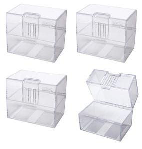 4x Herlitz Karteikasten / Lernbox / DIN A8 / transparent
