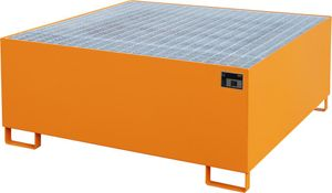 Bauer GmbH Auffangwanne lackiert mit Gitterrost AW 1000, lackiert orange RAL 2000
