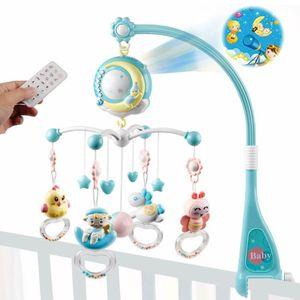 Zida Baby Mobile für Kinderbett Krippe mit Musik, Projektor und Fernbedienung Blau