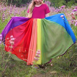 Kinder Baby Regenbogen Mädchen Maedchen Prinzessin Kleid Freizeitkleidung Kleider,Farbe:Rot,Größe:110