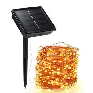 200 LED / 22 Meter Solar Draht Lichterkette mit 8 Modi - warmweiß