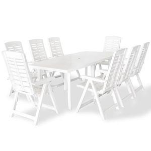 Gartenmöbel Essgruppe 8 Personen ,9-TLG. Terrassenmöbel Balkonset Sitzgruppe: Tisch mit 8 Stühle Kunststoff Weiß❀4588