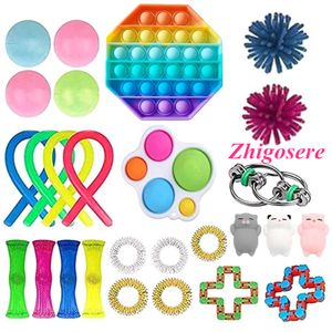 27 Stück / Set Push Bubble Fidget Antistress Toys Erwachsene Kinder Pop Fidget Sensory Toy