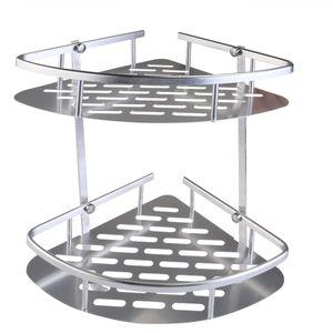 Aluminium 2-stufiges Badezimmer Eckregal Organizer Duschregal (Silber)