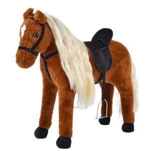 """Pink Papaya Stehpferd """"Bella"""" 75 cm Pony bis 100 kg belastbar mit Sound, langer Mähne und Steigbügeln"""