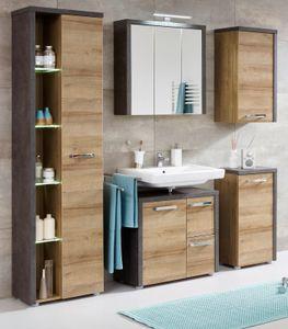 Badezimmer Möbel Set Eiche Honig Nb. und grau Beton Design Bad Möbelset Bay 5-teilig mit Chromgriffen und Soft-Close