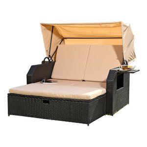 Sonnenbett Strandkorb Sonnenliege Rattan Bett inkl. Dach Rattan - Schwarz Rattan Dach Rattan Strandkorb Liegebett Relaxliege