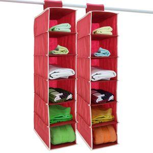 DEUBA® 2x Hängeaufbewahrung Hängeregal Hängeorganizer Aufbewahrung Stoff Schrank, Ausführung:6 Fächer rot/weiß