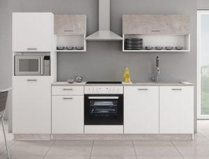 Küche MIKA 270 Küchenzeile Küchenblock Einbauküche Singleküche Weiss Beton