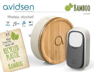 Avidsen Bamboo Funk-Gong PlugIn Klingel aus Bambus/recyceltem Kunststoff ohne B...