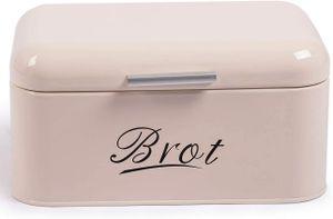 Theo&Cleo Brotkasten aus Metall, Brot Lange Aufbewahren, Retro Brot Box, Brotaufbewahrungsbox mit Deckel klein (31* 19* 16cm),Beige