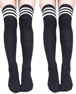 Krautwear Damen Strümpfe Socken Overknees Streifen Kniestrümpfe Cheerleader (2x schwarz/weiß)