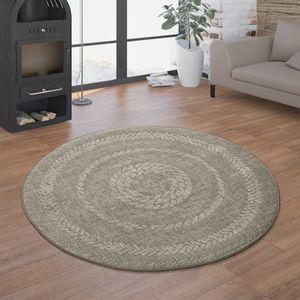 In- & Outdoor-Teppich, Rundes Flachgewebe Mit Sisal-Look Skandi-Design, In Beige, Größe:Ø 120 cm Rund