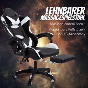 Weiß Gamingstuhl Gaming Stuhl Racing Bürostuhl Chefsessel Drehstuhl Schreibtischstuhl
