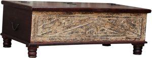 Antiker Truhentisch, Opiumtische, Kaffeetisch, Beistelltisch, Couchtisch, Antik-braun, Holz, 40*112*62 cm, Truhen, Kisten, Koffer