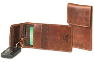 Woodland® KEYLESS-GO Funkwellenblocker Auto-Schlüsseltasche aus naturbelassenem Rindsleder in Multicolor/Cognac