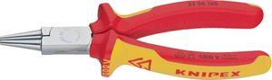Knipex 220-6160 Rundzange 160mm VDE isol. mit zweifarbiger Hülle, rot/gelb/silber