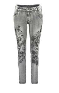 Blue Monkey Damen Marken-Skinny-Jeans mit Stickerei, grau, 34 inch, Größe:28