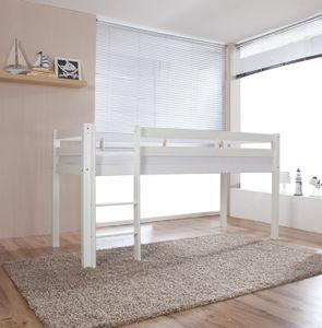 Relita Halbhohes Spielbett ALEX Buche massiv weiß lackiert