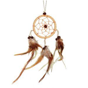 Traumfänger - Dreamcatcher 'Happy Dreams'  6 cm Ringdurchmesser natur Indianer