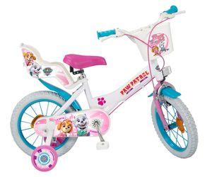 Kinderfahrrad Mädchenfahrrad Paw Patrol 14 Zoll weiß/rosa mit Felgenbremse, Trommelbremse, Korb, Puppensitz