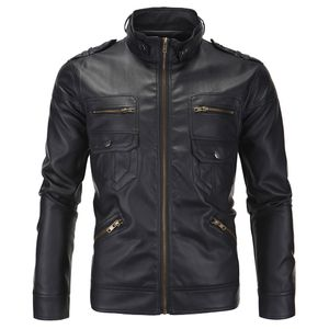 Herren Lederjacke Herbst & Winter Biker Motorrad Reißverschluss Outwear Mantel Größe:XXL,Farbe:Schwarz