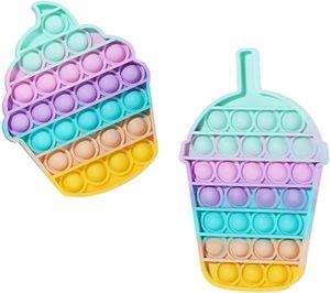 2 Stk. Silikon Push Pop Bubble Antistress Zappeln Spielzeug, Angst Relief Finger Spielzeug Autismus Besondere Bedürfnisse Stressabbau Reliever für Kinder und Erwachsene
