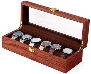 6 Zellen Uhrenbox Gitter aus Holz und Samtstoff Vintage Uhrenschatulle Uhrenbox Geschenke Uhrenschachtel