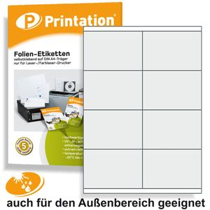Etiketten 105 x 70 mm WETTERFEST - Folienetiketten transparent matt auf A4 - 2x4 43my