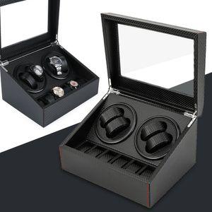4 + 6 Uhren automatische Uhrenbeweger Uhrenbox  PolyurethanWatchwinder Uhrenkasten Uhrenaufbehaltung Schwarz