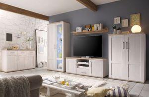 ROMANCE Wohnzimmer Set Komplettset Wohnwand Anbwauwand Wohnkombination Weiß