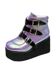 Damen Plateau Schuhschnalle Mit Runder Zehe Und Keilabsatz Martin Stiefel Fashion Gürtelschnalle,Farbe:Violett,Größe:42
