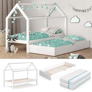 VITALISPA Kinderbett WIKI 90x200 cm Weiß Schlafplatz Unterbett Hausbett Kinderhaus + 2 Matratzen