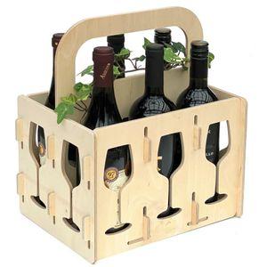 DanDiBo Weinträger Holz 6 Flaschen Flaschenträger 96142 Flaschentasche Weinkorb Weintasche