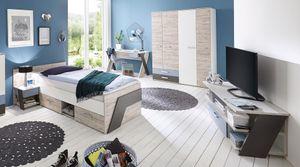 FMD 814-000 Jugendzimmer NONA 5-tlg. Set in Sandeiche/Farbig