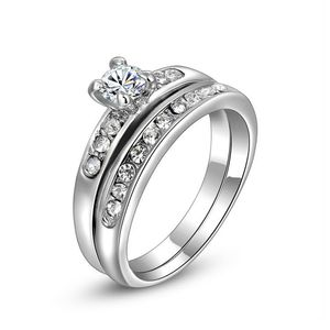 Damen Ring 2er Ring Solitärring 2in1 Verlobungsring vergoldet Zirkonia Kristall Antragsring  57 - Ø 18,14 mm