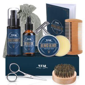 Bartpflege Set, Y.F.M 8 IN 1 Männer Bart Styling Reinigung Werkzeug, Men Beard Care Kit mit Bartshampoo, Bartöl, Bartbalsam, Bartkamm, Bartbürste, Bartschere usw, Herren ideales Geschenkset