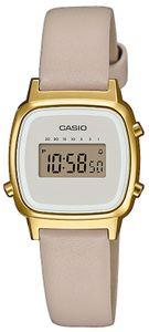 Casio Damenuhr LA670WEFL-9EF beige gold Lederband