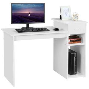 Yaheetech Computertisch Schreibtisch mit Ablage, Bürotisch Arbeitstisch Laptoptisch für Arbeitszimmer Büro Ordner Akten Weiß
