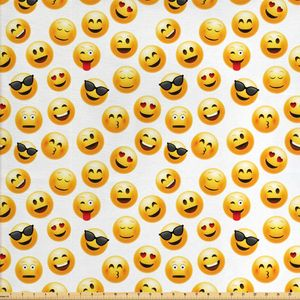 ABAKUHAUS emoji Gewebe als Meterware, Smiley Faces Gefühle, Schön Gewebten Stoff für Polster und Wohnaccessoires, 1M (160x100cm), Gelb Schwarz Rot
