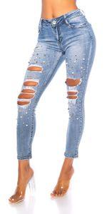 Skinny Jeans im Destroyed-Look mit Deko Perlen und Löcher, Farbe: Blau, Größe: 36