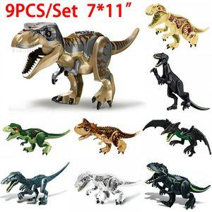 CUIFULI 9stk Jurassic World Indominus Rex Dinosaurier Tierfigur Modell Kinder Blöck Spielzeug