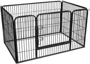 FEANDREA Welpenauslauf aus Metall 122 x 80 x 70 cm Welpengitter Welpenzaun Freilaufgehege Tierlaufstall für Hunde schwarz PPK04BK