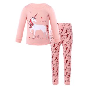 IEFIEL Süßes Mädchen Zweiteiliger Schlafanzug Baumwolle Einhorn Drucken Langarm Pyjama Set,Rosa,Gr.98-104